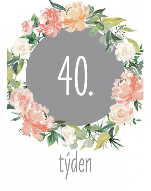 Těhotenské milníkové kartičky Květy