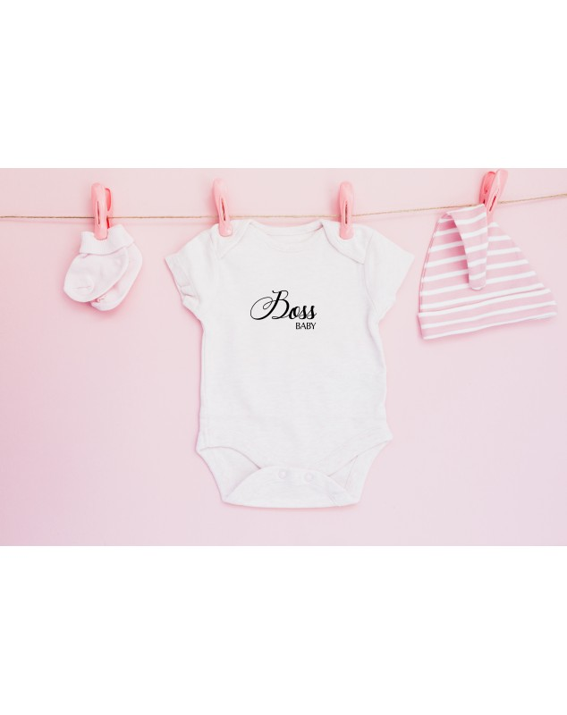 Milý nápis na dětském body pro vaše miminko Boss Baby