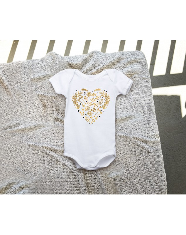 Nádherné dětské body Srdce zlaté pro vaše miminko